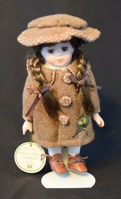 """Collector's Classic Porcelain Doll Stephanie 8.5"""" Tall Limited Edition W/ Stand"""