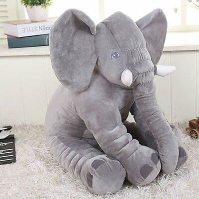 Long Nose Elephant Doll Pillow Gray Plush Stuff Toys Lumbar Pillow For Baby US