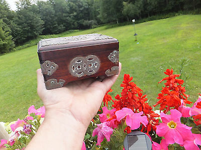 Vintage Ornate Brass Decorated Wood Trinket Coin Change Jewelry Box - 5x4 Inches