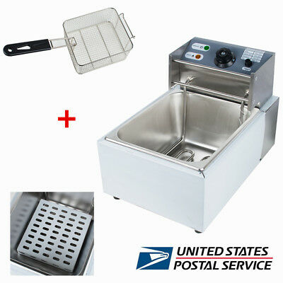 8l Electric Countertop Deep Fryer Commercial Tank French Fry Restaurant Usa Fda