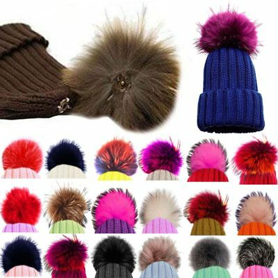 New Detachable Coloured Faux Fur Pom Poms For Hats And Clothes Uk