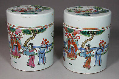 A Pair of  Large Chinese Fine Famille Rose Painted Jars and Lids-19th C.: