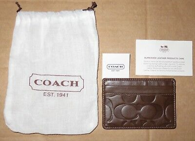 New Coach Mens Tobacco Brown Signature Embossed Slim Leather Card Case F74080
