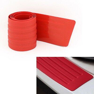 "Car SUV Rear Trunk Sill Plate Bumper Guard Protector Rubber Pad Cover RED 35"" P4"