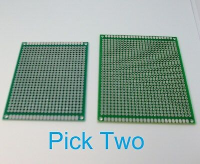 2 Double Sided PCB Proto Perf Board Through Plated 6x8 7x9 USA Comb Ship