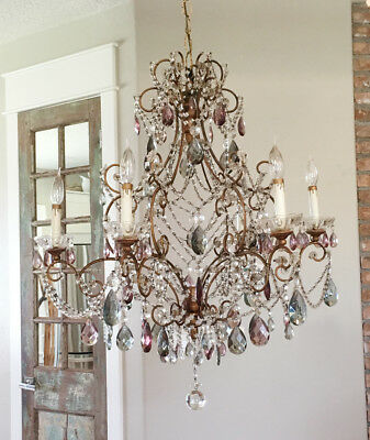 ShowStopper Antique Italian Beaded Crystal Chandelier Vintage Rare XLG Size