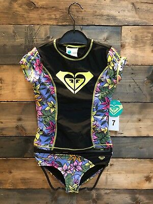 New Roxy Girls 2 Piece Swimsuit Upf 50+ Rash Guard Hawaiian