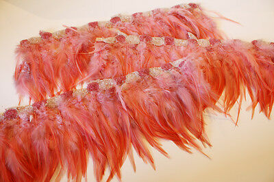 Rare Antique Beaded Flapper Feather Yardage Incredible Paris France European