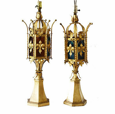 Pair Italian Tole Crown Table Lamps w/Stain Glass Antique Vintage Gilt Metal
