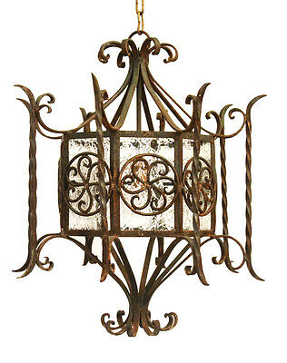 1800s French Antique Hand Wrought Iron Hanging Lantern Light