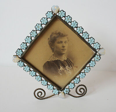 Rare Antique French Opaline Jeweled Wire Work Picture Frame Gorgeous!