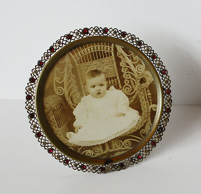 Czech Victorian Jeweled Wire Work Picture Frame Antique
