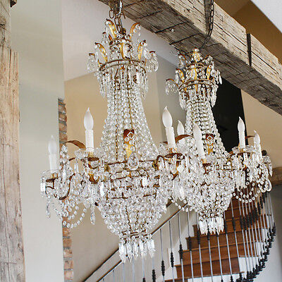 Incredible Xlrg ANTIQUE Italian Beaded CHANDELIER Light GORGEOUS Rare!