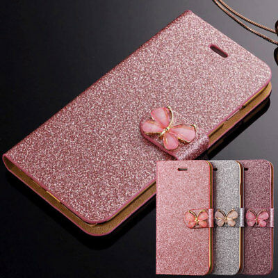 Luxury Bling Glitter Leather Magnetic Flip Wallet Cover Case For Samsung Galaxy