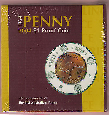 2004 $1 Proof Coin (Last Australian Penny Issue) - picture for illustration