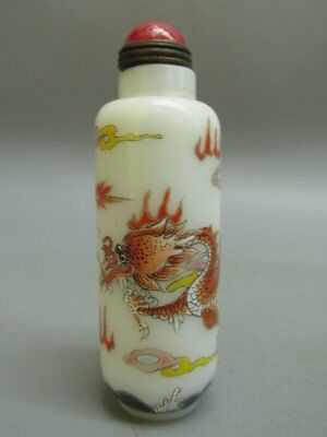 Chinese Peking Glass Painted Dragon Pattern Snuff Bottle
