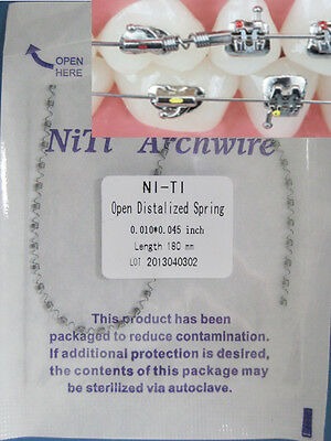 Orthodontic Niti Open Spring,Open Distalized Spring,.010*.045 inch, L:180mm -1pc