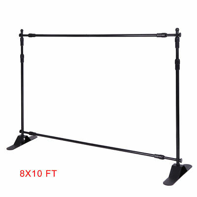 Heavy-Duty Tube 8x10 Step and Repeat Backdrop Telescopic Banner Stand Adjustable
