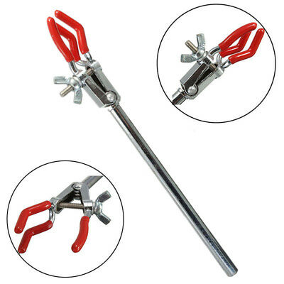 New Lab Single Adjustment Three Prong Extension Flask Clip Clamp For Stand U.SA