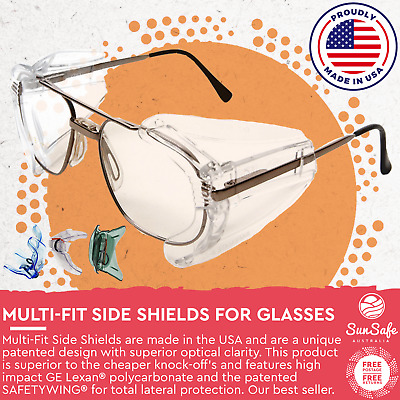 Mulit Fit Side Shields Polycarbonate Safety Eyewear Attachment Tinted or Clear