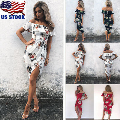 US Women Summer Off Shoulder Ruffle Dress Floral Print Maxi Beach Dress Sundress