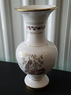 Hand Made in Greece 24K Gold Special Peacock White Vase