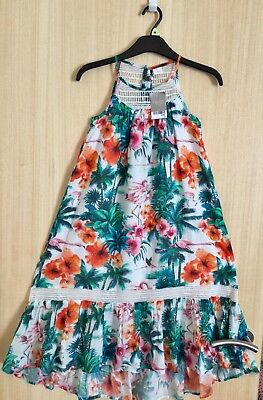 Girls Bnwt Next Flamingo Tropical Print Lined Maxi Dress Size 9 Years Rrp £30