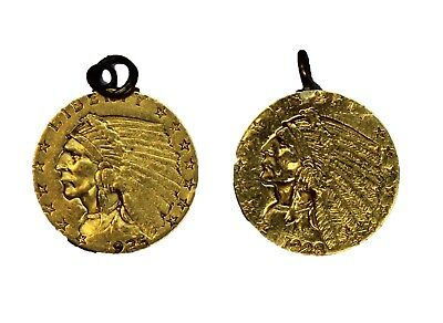 1928 and 1925-D $2.50 Gold Indian Head 2 Piece Jewelry Set