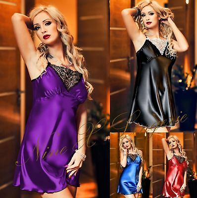 Nine X Womens Satin Babydoll Dress S-6XL Plus Size Lingerie Underwear Nightie