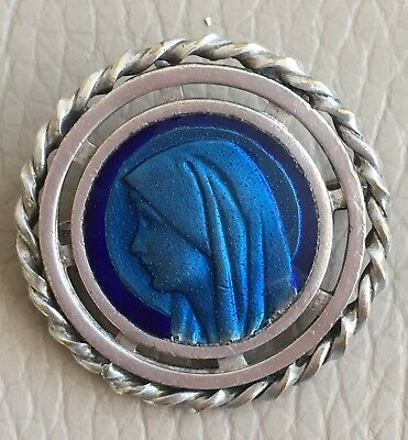 Antique Vintage 1920s French Blue Enamel Madonna Mary Brooch Pin Trombone Clasp