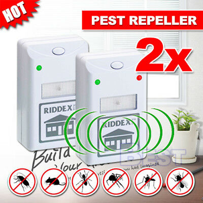 2X RIDDEX Plus Pest Repeller Ultrasonic Electronic Rat Mosquito Rodent Control A