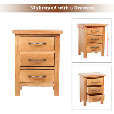 High Quality Oak Nightstand 3 Drawers w/ Handles 40 x 30 x 54 cm Bedside Table