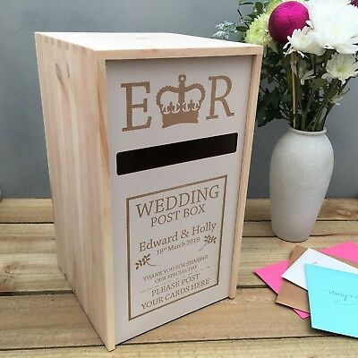 Solid Pine Fully Assembled Personalised Wedding Card Post Box,Royal Mail Style