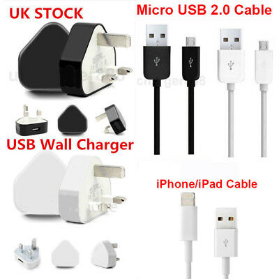 High Speed UK Mains Plug Charger Wall & USB Data Sync Cables Samsung iPhone iPad