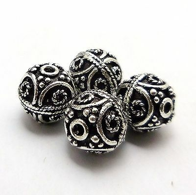 11 Pcs Solid Copper Bali Bead 10Mm Antique Sterling Silver Plated Beads   #24