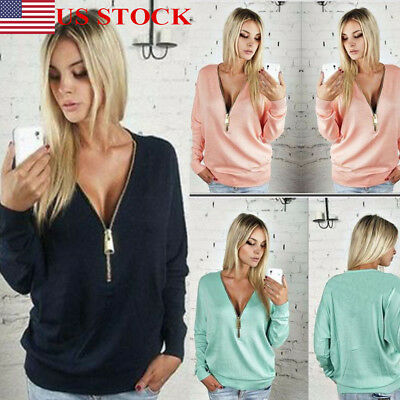US Plus Size Women Spring Long Sleeve Loose Deep V Neck Sexy T Shirt Blouse Tops