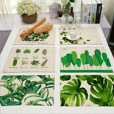 Green Tropical Plants Leaves Insulation Placemats Place Pad Dining Table Mats