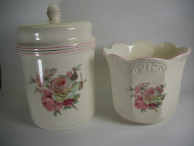 Burleigh  Staffordshire England Biscuit Jar & Vase Shabby Roses Lot of 2