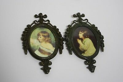 Vintage Ornate Italy Oval Brass Metal Picture Frames Children Print - Small 6""