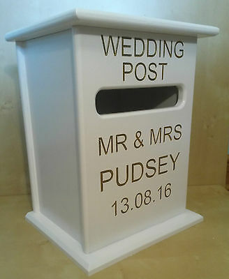 Personalised Handmade Post Box Wedding Birthday Christening Card Holder Wooden