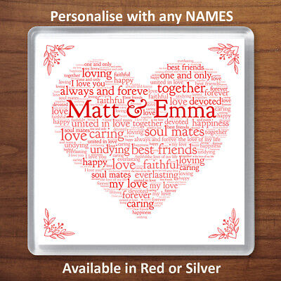 Valentines Day Personalised Gift Word Art Heart Coaster For Him Or Her Romantic