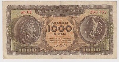(N12-32) 1950 Greece 1000 Drachma bank note (A)