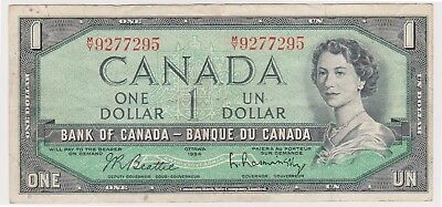 (N12-56) 1954 Canada $1 bank note (A)