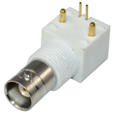 BNC Female Jack with Nut PCB Mount Right Angle RF Coaxial Connector White