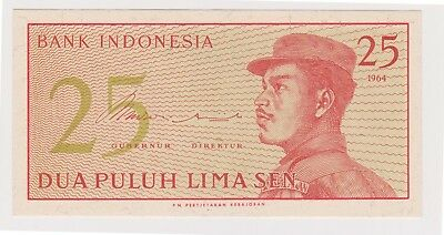(N12-43) 1964 Indonesia 25 SEN bank note (D)