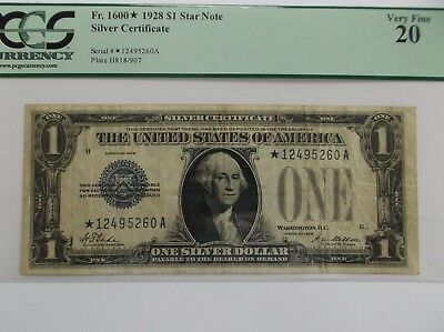 """1928 $1 (STAR NOTE)! PCGS VF.20 """"BOLD!""""  for The Grade!!!"""