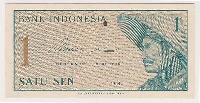 (N12-45) 1964 Indonesia 1 SEN bank note (F)