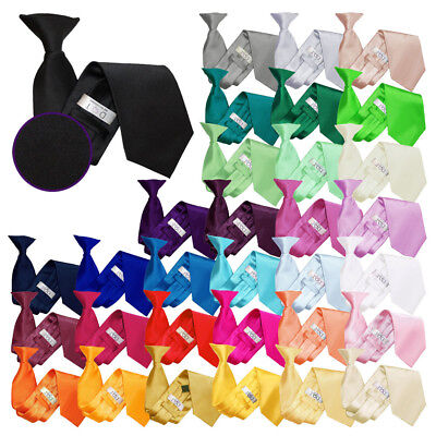 Premium Handmade Satin Plain Solid Formal Mens Classic Clip On Tie Multi Colours