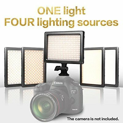 4 in 1 Dimmable Bi-color Camera LED Video Light  Charger and Carrying Case