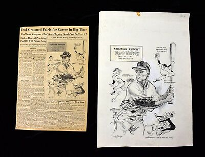 '62 Ron Fairly's Scouting Report Sporting News Original Cartoon Art w Tear Sheet
